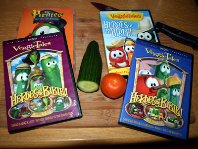 VeggieTales DVDs on a chopping board