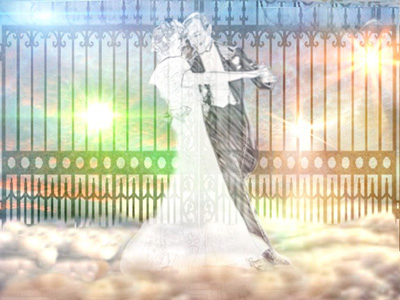Vernon and Irene dancing in front of the Pearly Gates