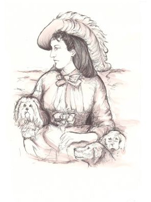 Author Ouida wearing a feather hat, surrounded by lapdogs