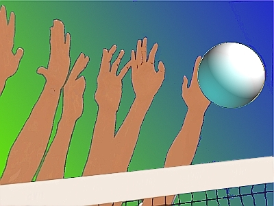 Hands reaching for a volleyball.