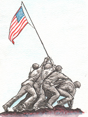Artwork depicting soldiers lifting an American flag.