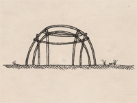 Drawing of a wigwam.