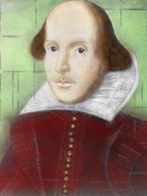Artwork depicting Shakespeare