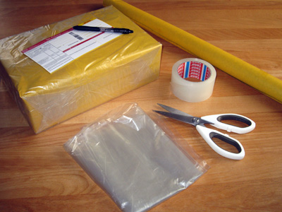 A parcel during the packaging process.
