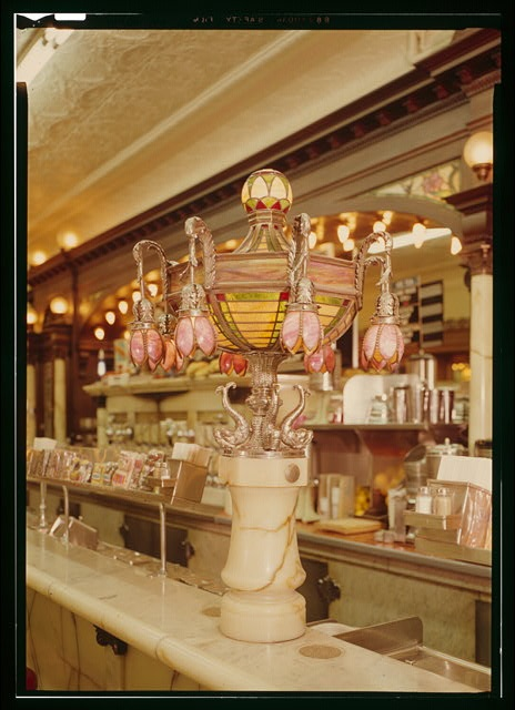 Tiffany lamp from an old-fashioned ice cream parlour.