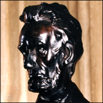 A bust of Abraham Lincoln who was said to display a striking example of Sanpaku Eyes.
