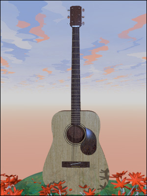 An acoustic guitar in a picturesque setting.