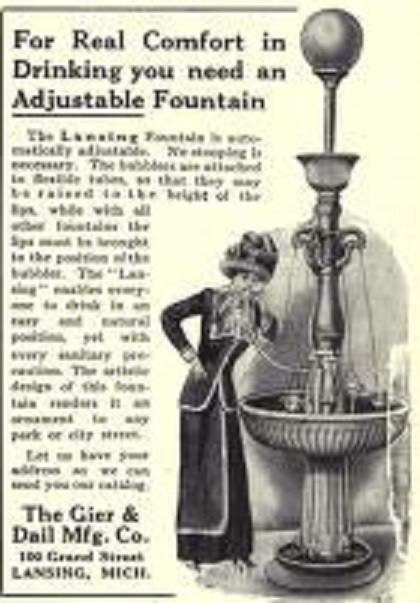 An adjustable water fountain in 1911.