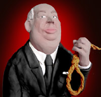 A sculpture depicting Alfred Hitchcock holding a noose