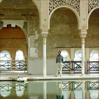 A scene from inside one of the palaces of the spectacular Alhambra in Granada, Spain.