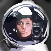 A woman inside a spacesuit. The teeth of an alien are reflected on the glass of the suit's helmet.