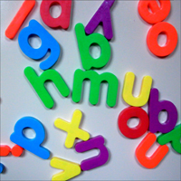 Brightly-coloured letters of the alphabet.