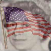 A composite picture of the American flag and the Queen.