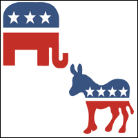 Two symbols, an elephant and a donkey, representing the US Republican and Democratic parties respectively.