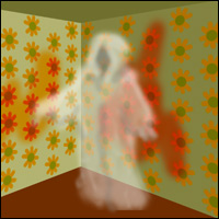 A ghost appears in a room with blood on the walls. Did this really happen inside the house in Amityville?.