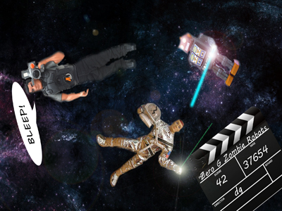 Artwork showing various cinematic emblems floating in space.