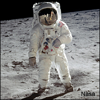 A picture of 'Buzz' Aldrin walking on the surface of the Moon taken by Neil Armstrong in July 1969.