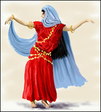 A woman dressed in flowing robes performs an arabic dance.