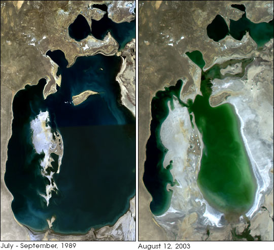 Satellite images of the Aral Sea in 1989 and again in 2003, courtesy of NASA.