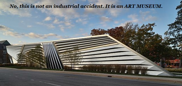 The Broad Art Museum on the campus of Michigan State University in East Lansing, Michigan. It was designed by British artist Zaha Hadid, and yes, it clashes with the rest of the campus buildings. But although it looks like an industrial accident involving a lot of very large aluminium slats, it's really quite striking in its own way, don't you think?