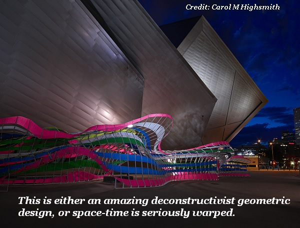 This very artistic art building is either a deconstructionist geometric masterpiece, or a hole in the space-time continuum.'