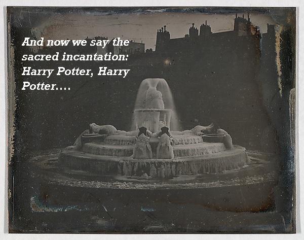 A magical incantation around a sacred fountain involves Harry Potter.'