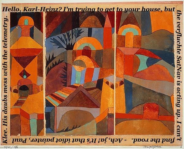 When Paul Klee is in the neighbourhood, don't trust your SatNav.