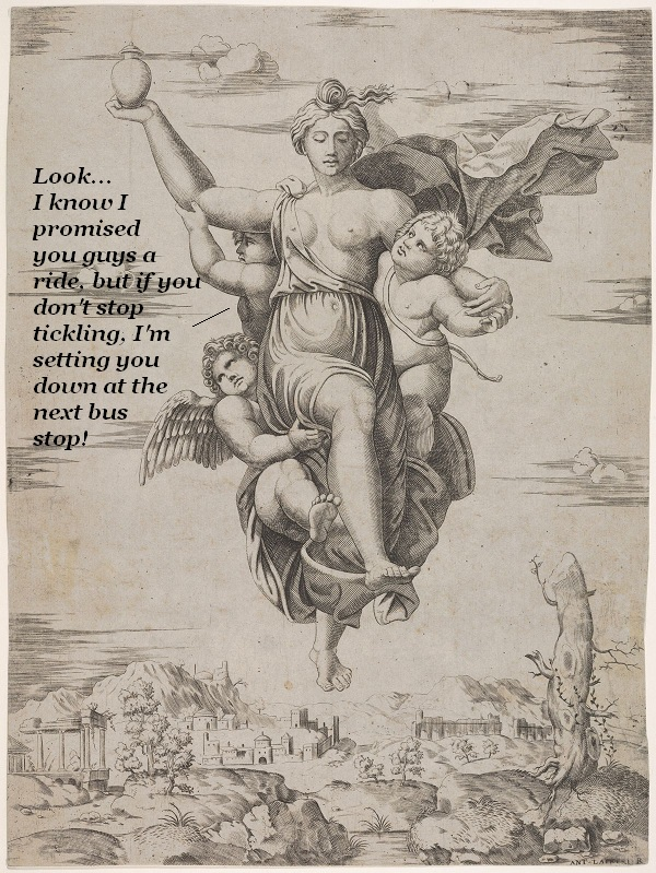 Psyche is flying, carrying water from the Styx. But if those putti holding onto her don't stop tickling, she's setting them down at the nearest bus stop.