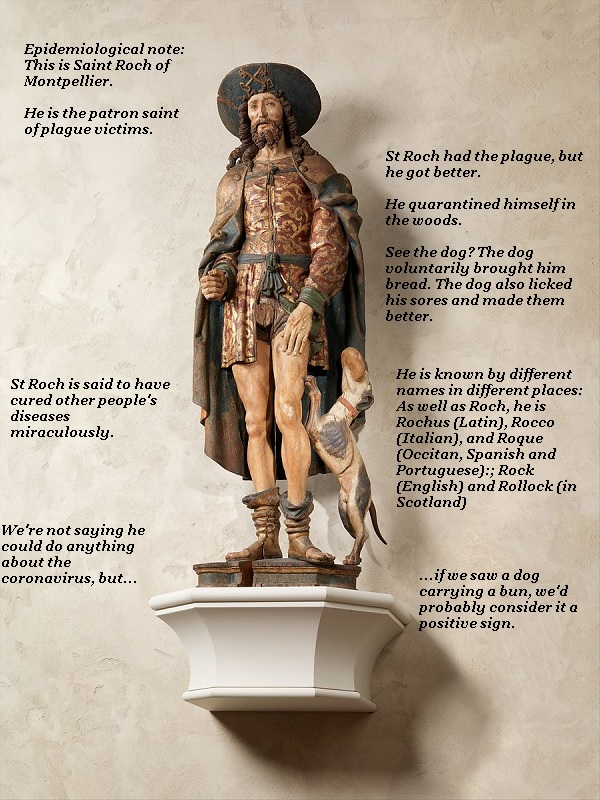St Roch and his dog friend are symbols of healing during epidemics.