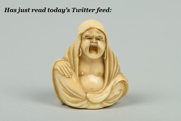 A Japanese Netsuke figurine is outraged by Twitter.