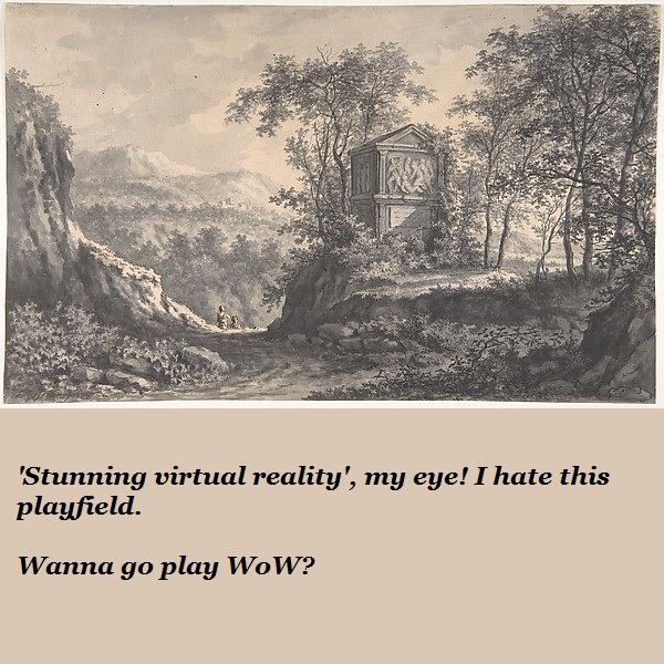 A pair of figures in a landscape painting decide they'd rather be playing WoW.