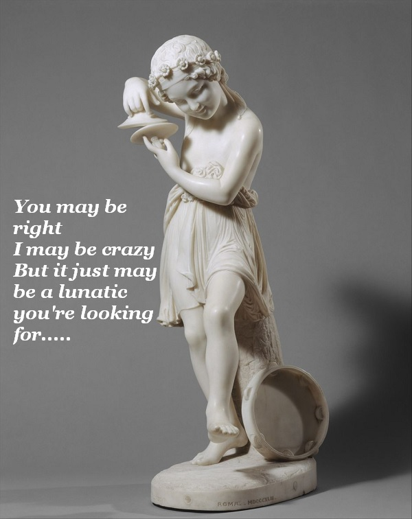 The carved figure of Mirth sings 'You May Be Right' by Billy Joel.