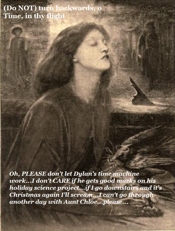 A woman prays that her son's science project won't make her repeat Christmas Day.