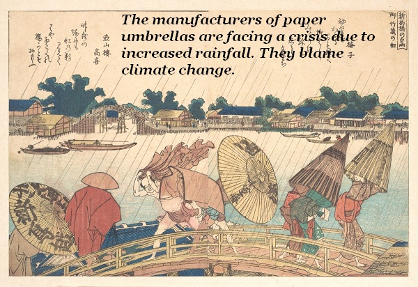 Paper umbrellas subjected to heavy rainfall cause a crisis on a bridge.