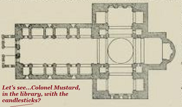 Playing Cluedo with a cathedral floor plan.'