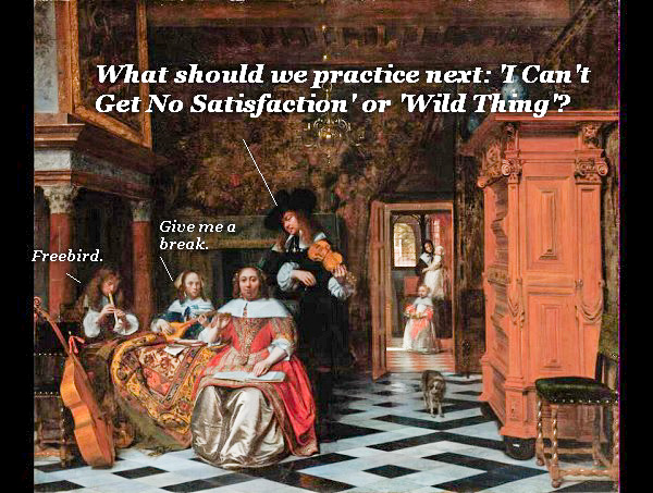 Family  home musicians rehearsing in the 17th-century Netherlands. Of course, one of them wants to play 'Freebird'.