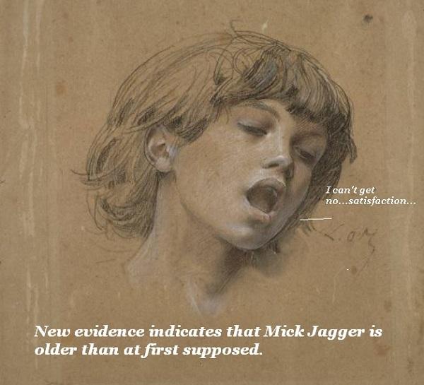 19th-century drawing of Mick Jagger singing.