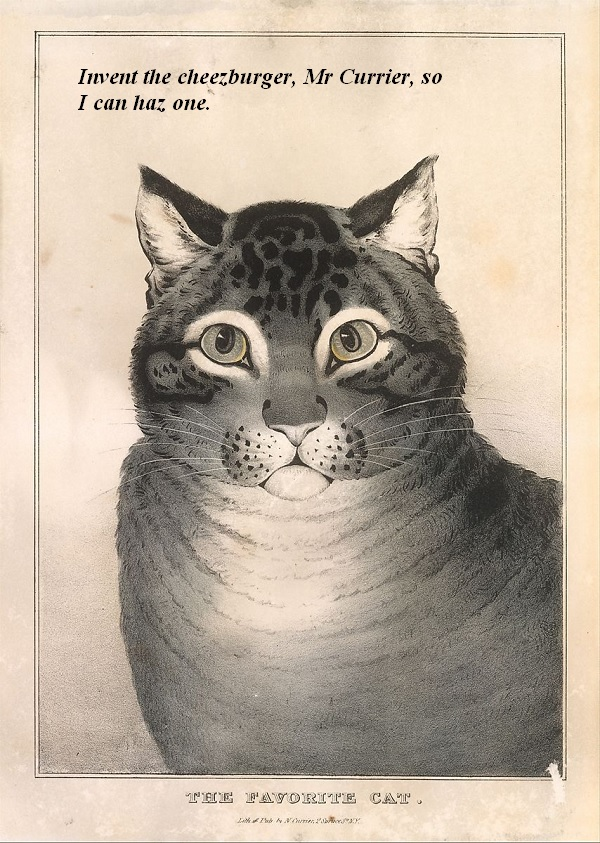 Cat in Currier and Ives drawing wants the artist to invent the cheeseburger so it can have one.