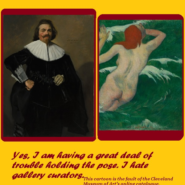The Dutch Master portrait is having trouble keeping his eyes on the patrons since the curator hung a naked female swimmer next to him.