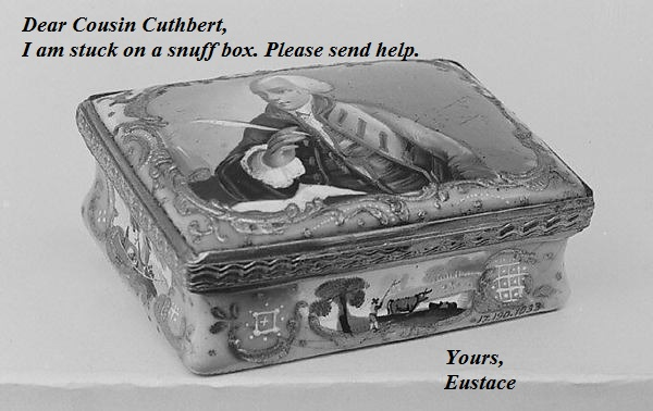 Eustace writes a letter with a quill. He's trapped on a snuffbox cover.