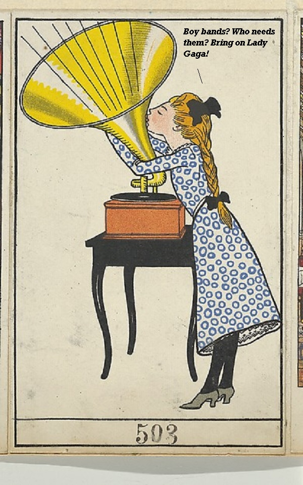 A girl embracing her Victrola.'