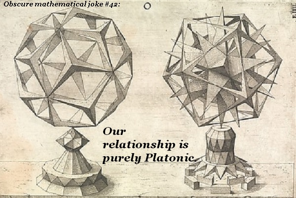 Two polyhedrons have a 'Platonic' relationship.'