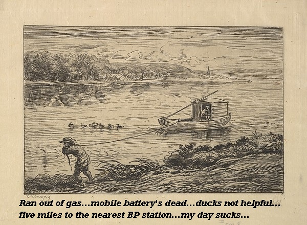 The boat's out of fuel, the ducks won't help, and the mobile's gone dead. Nothing to do but tow it to a petrol station.'