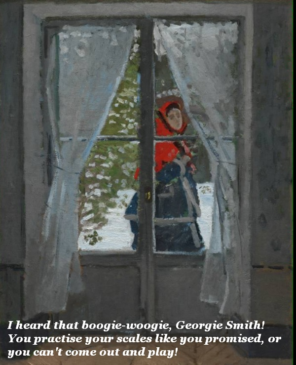 Young woman looking into window tells Georgie to stop playing boogie-woogie and practise his scales, or he can't come out and play in the snow.