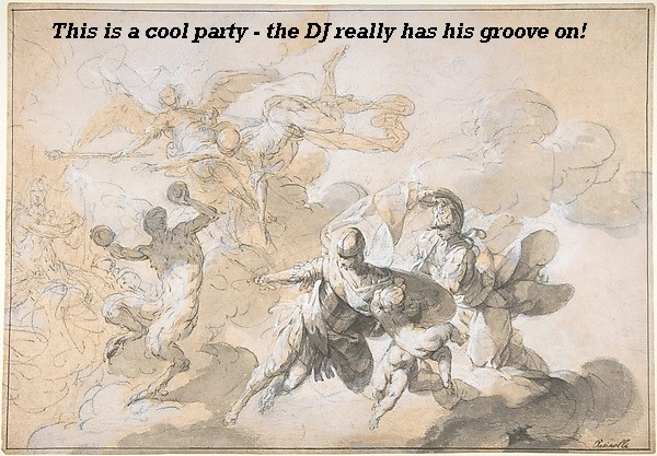 This ceiling painting shows a really rocking party with a satyr deejay.'