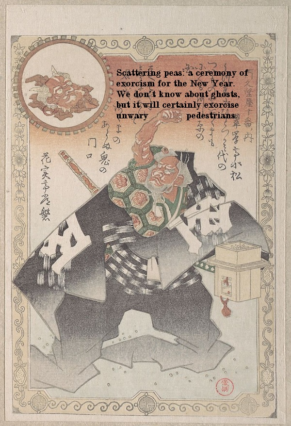 This Japanese actor is scattering peas for good luck in the new year. It works if you don't step on them.