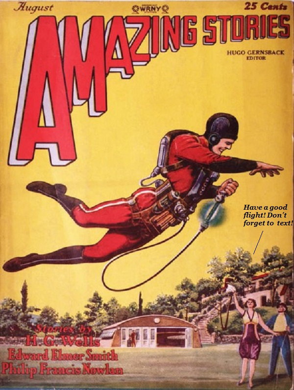 A future-type dude with a jetpack from an old scifi magazine.