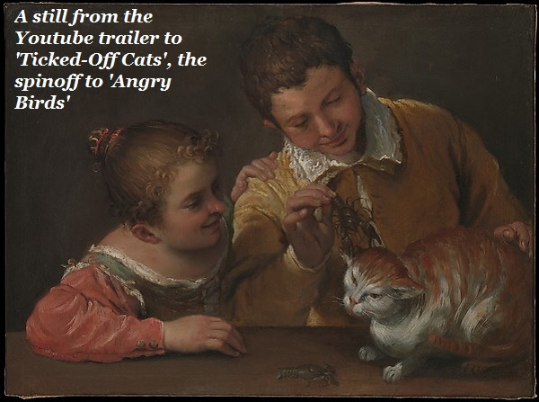 Two Italian kids annoying a cat back in the 17th Century.