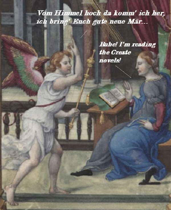 Mary tells Gabriel to can the announcing: she's reading the November Create novels.