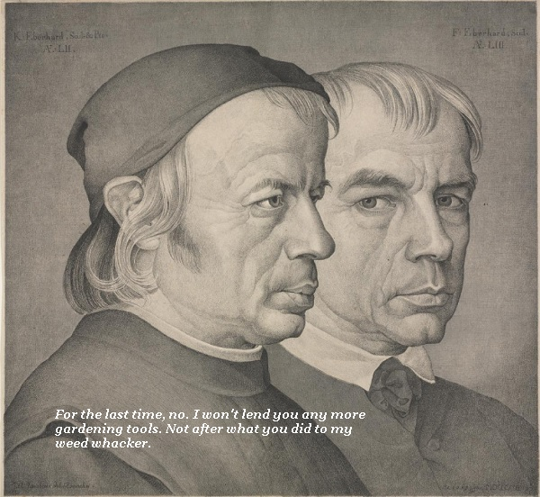 The two brothers in the portrait look grumpy. One says, No, I won't lend you any more gardening tools. Not after what you did to my weed whacker.'
